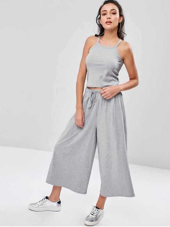 ladies Marled Top and Wide Leg Pants - GRAY GOOSE ONE SIZE