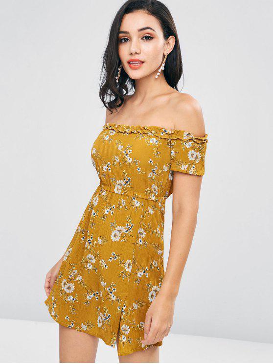 fancy Off Shoulder Floral A Line Dress - ORANGE GOLD L