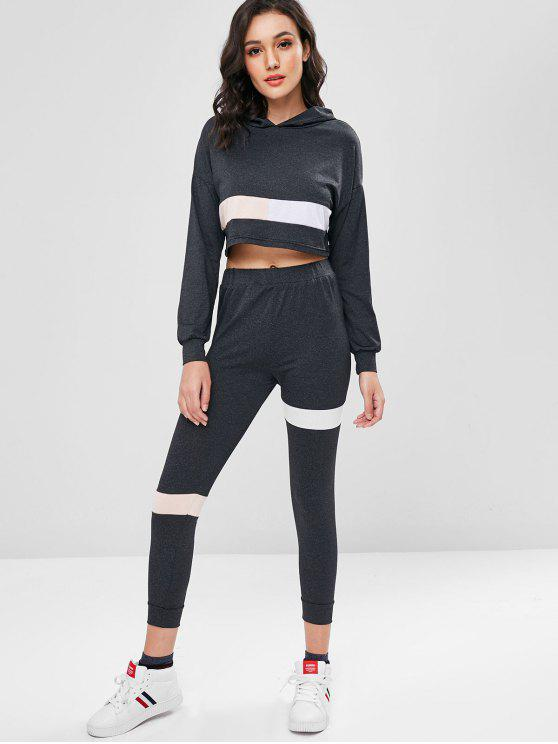 outfit Marl Color Block Cropped Hoodie Set - CARBON GRAY L