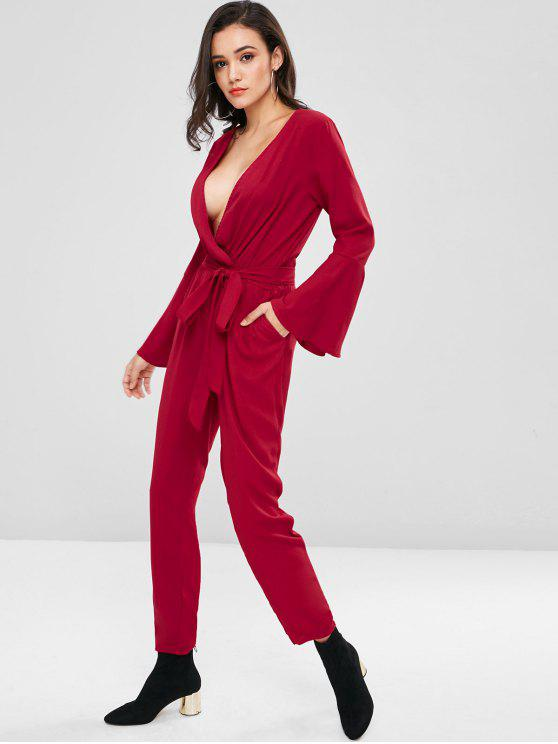 sale Plunging Flare Sleeve Surplice Jumpsuit - RED WINE M