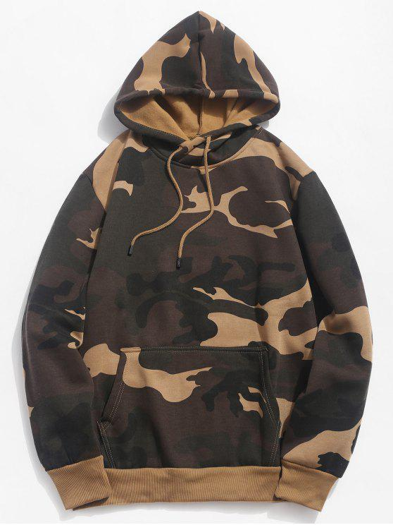 trendy Camouflage Pouch Pocket Fleece Hoodie - WOODLAND CAMOUFLAGE 2XL