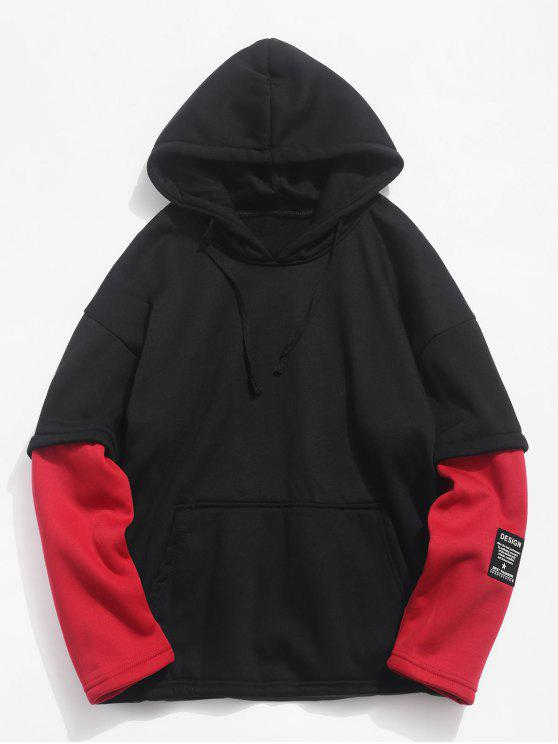 unique Contrast Fake Two Piece Fleece Hoodie - FIRE ENGINE RED L