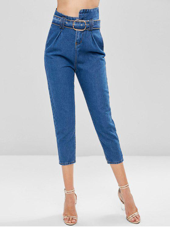 trendy High Waisted Belted Boyfriend Jeans - DENIM DARK BLUE XL