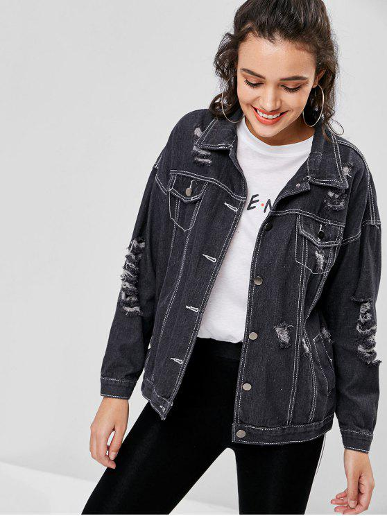 outfits Ripped Boyfriend Drop Shoulder Denim Jacket - JET BLACK ONE SIZE