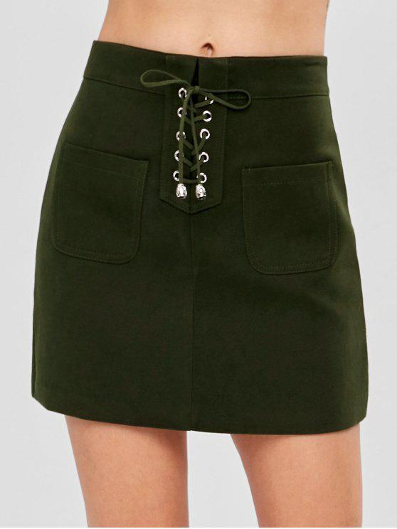 fancy Pocket Lace-up Mini Skirt - ARMY GREEN M