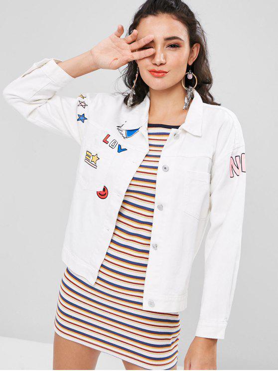 affordable Pocket Graphic Denim Jacket - WHITE S