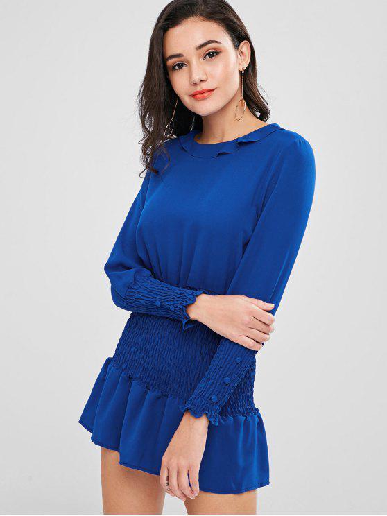 ladies Smocked Long Sleeve Dress - BLUE L