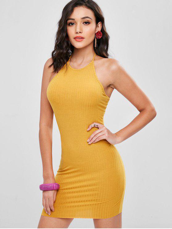 unique Halter Ribbed Bodycon Mini Dress - GOLDEN BROWN S