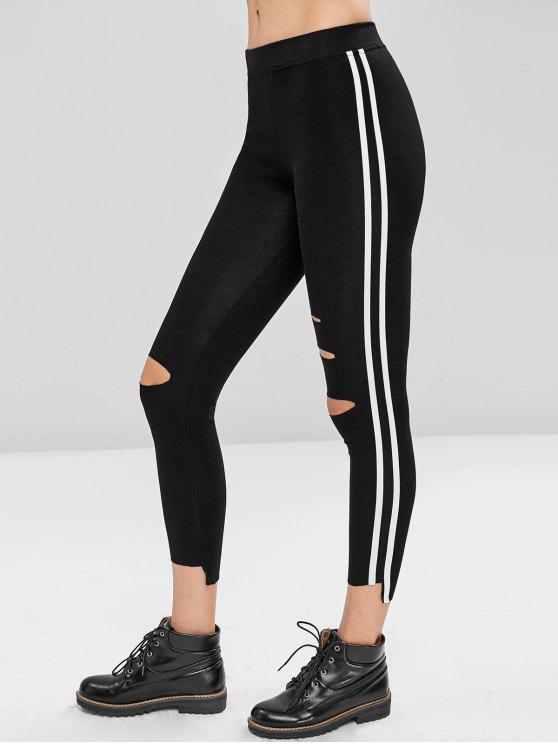 women Raw Trim Striped Skinny Pants - BLACK M
