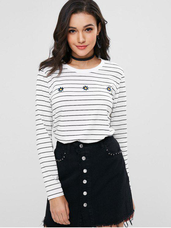 trendy Stripes Embroidered Tee - WHITE L