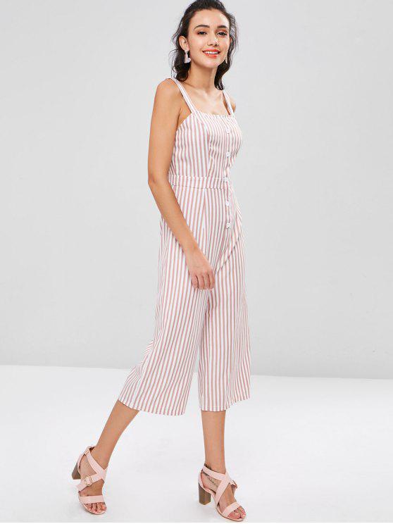 unique Wide Leg Striped Jumpsuit - PINK BOW XL