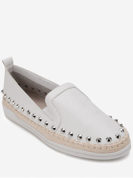ladies Rivet Trim Espadrille Slip On Sneakers - WHITE 38