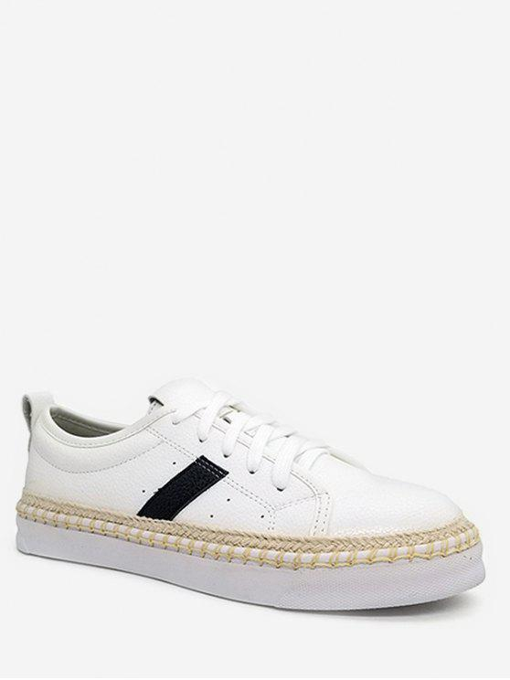 shops Stripe Decorative PU Leather Sneakers - WHITE 39