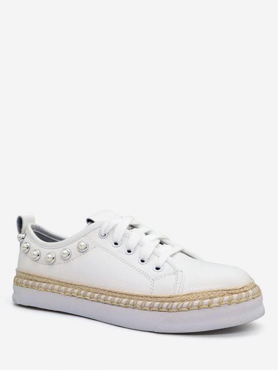 fancy Faux Pearl Decorative Low Top Espadrille Sneakers - WHITE 37