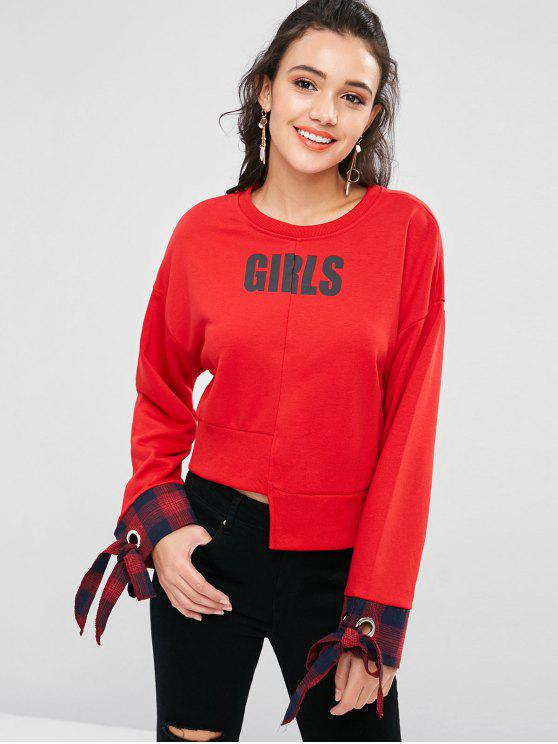Sweat-shirt Asymétrique Noué avec œillet - Rouge Amour S