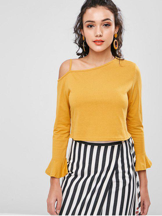 lady Skew Collar Cold Shoulder Top - BEE YELLOW S