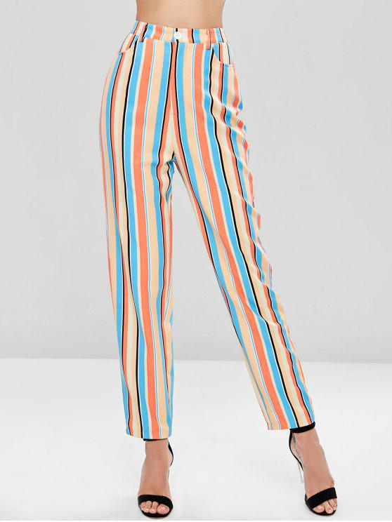 sale High Waisted Striped Straight Pants - MULTI M