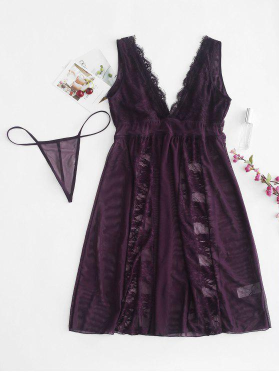 outfits Sheer Lace Tulle Chemise Lingerie Set - PURPLE XL