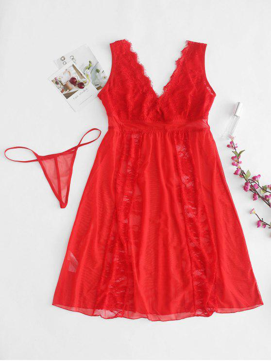 shop Sheer Lace Tulle Chemise Lingerie Set - RED S