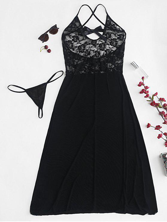 shops Sheer Lace Tulle Midi Chemise Lingerie Set - BLACK M
