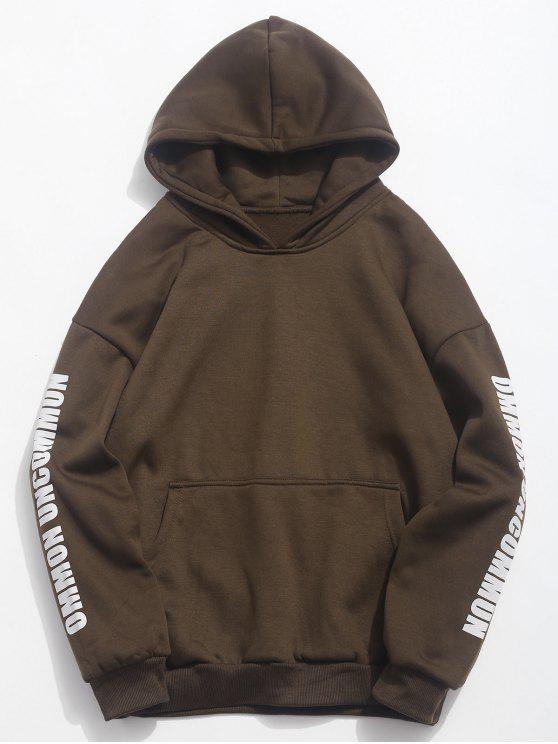 chic Solid Letters Pouch Pocket Fleece Hoodie - COFFEE XS