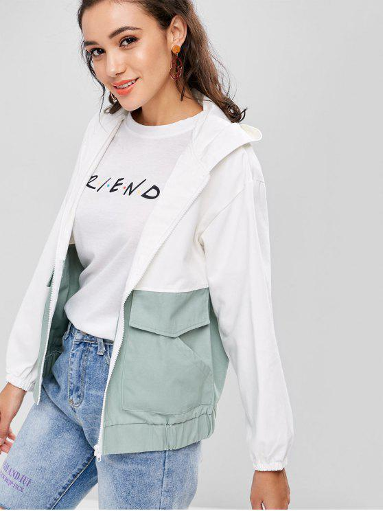 0a92c75305a 2019 Graphic Hooded Zip Up Jacket In WHITE S