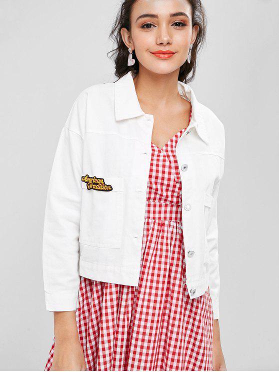 fashion Drop Shoulder Pocket Denim Jacket - WHITE S