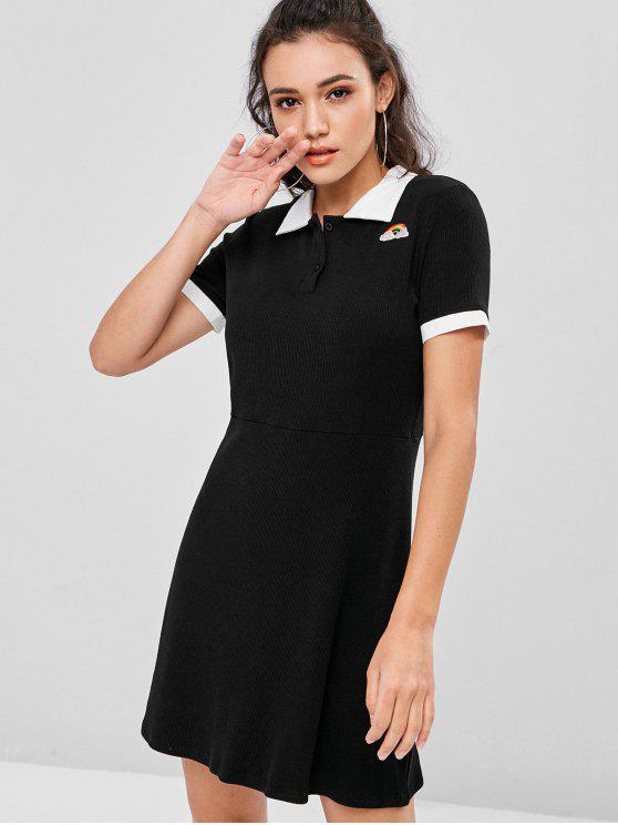 outfits Half Buttoned Rainbow Embroidered Mini Dress - BLACK M