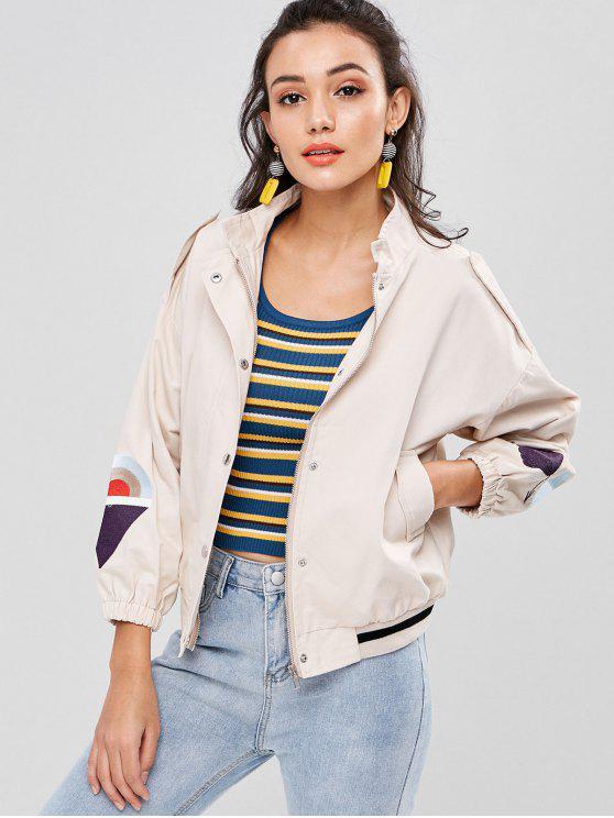 best Embroidery Drop Shoulder Striped Hem Jacket - LIGHT KHAKI M