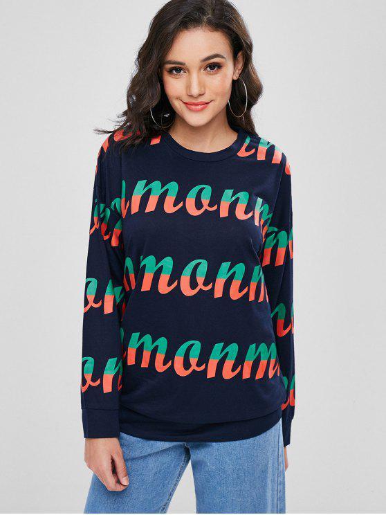 fashion Long Graphic Sweatshirt - DEEP BLUE L