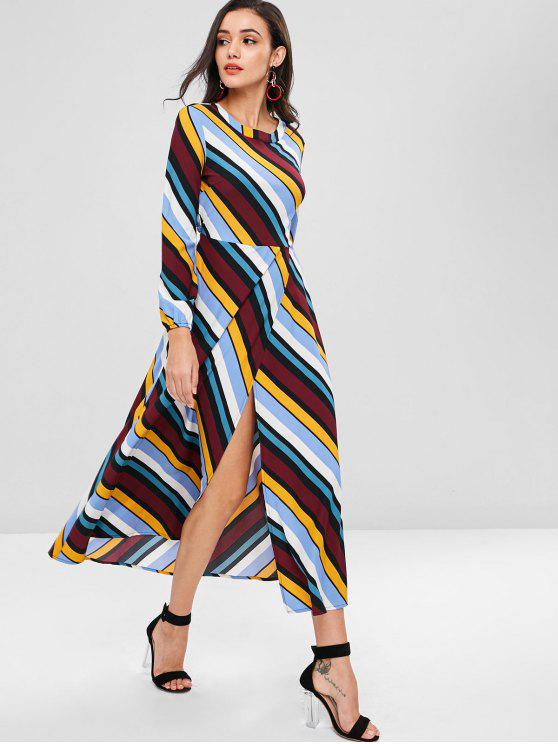 fashion Open Back Striped Maxi Dress - MULTI L