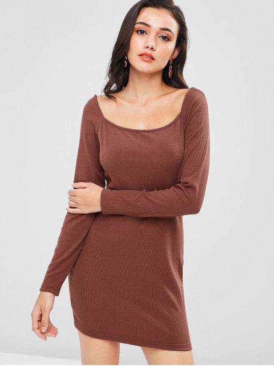 shop Plain Ribbed Mini Dress - DEEP COFFEE M