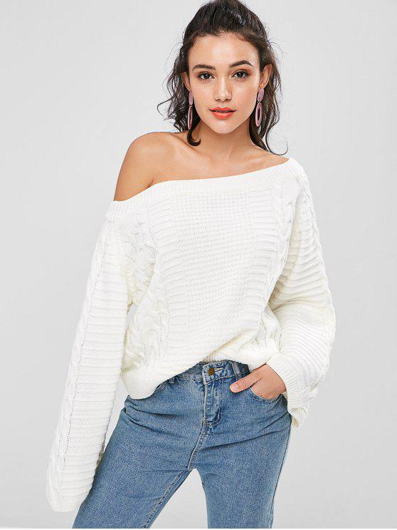 fashion Skew Collar Cable Knit Sweater - WHITE ONE SIZE