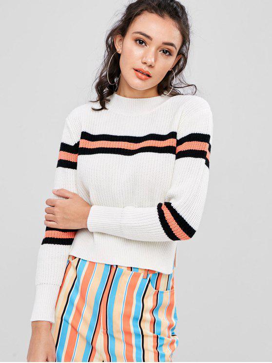 women Slit Striped Sweater - WHITE M