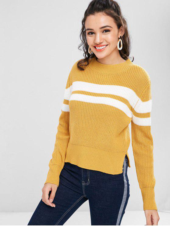 affordable Slit Contrasting Stripes Panel Sweater - BEE YELLOW M