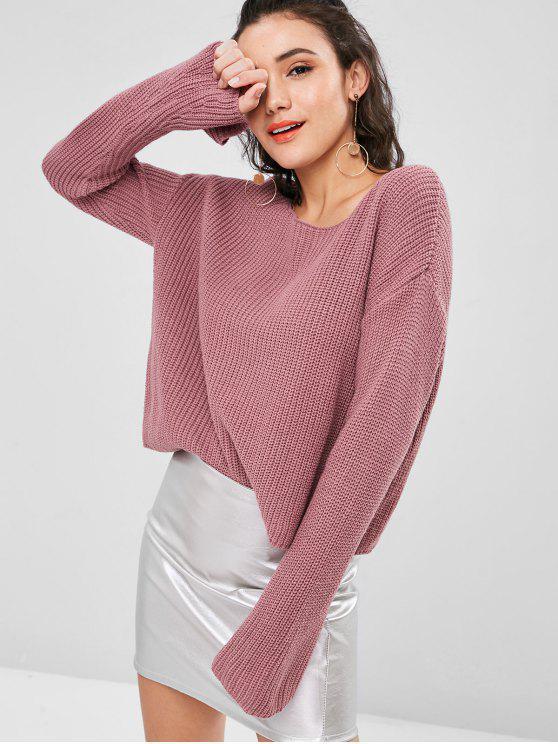 chic Plain Bell Sleeve Sweater - DULL PURPLE S