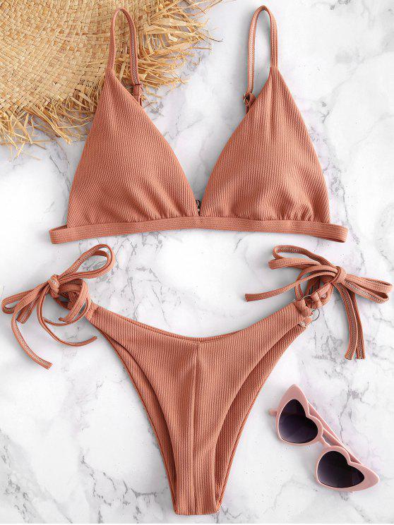 unique String Ribbed Bikini Set - KHAKI ROSE M