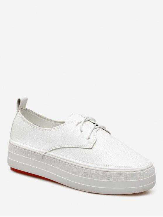 online Lace Up PU Leather Sneakers - WHITE 39