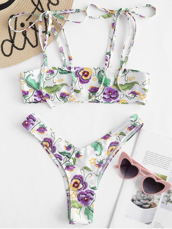 lady Tie Shoulder Floral Padded Bikini Set - WHITE S