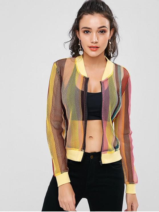 lady Zip Up Striped Fishnet Jacket - MULTI M