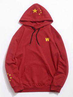 Five Star Flag Pinted Pocket Hoodie - Chestnut Red L