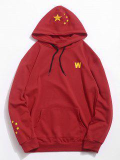 Five Star Flag Pinted Pocket Hoodie - Chestnut Red Xl