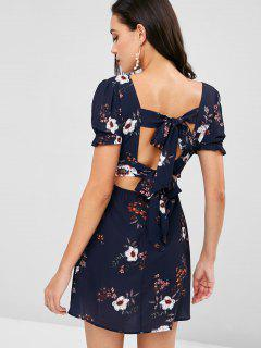 Tie Back Floral Surplice Skater Dress - Deep Blue L
