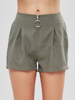 O Ring Zip Up Striped Shorts - Hazel Green Xl