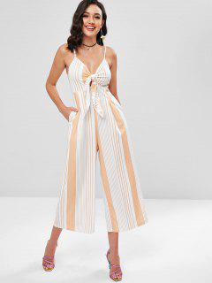 Striped Tie Front Wide Leg Culotte Jumpsuit - Peach M