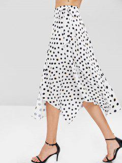 Polka Dot Asymmetrical Skirt - White M