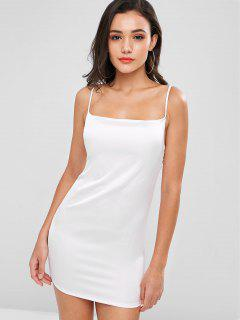 Plain Satin Slip Dress - White L
