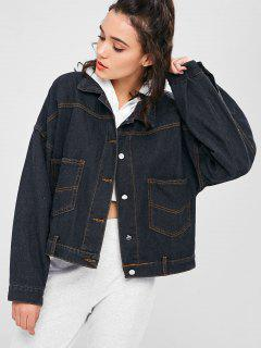 Back Slit Boyfriend Denim Jacket - Jet Black M