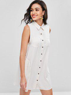 Button Up Sleeveless Pocket Dress - Crystal Cream S
