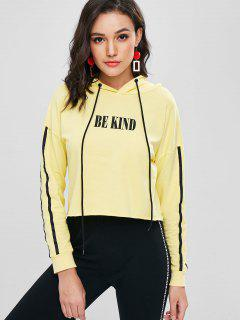 Letter Graphic Cropped Hoodie - Corn Yellow L